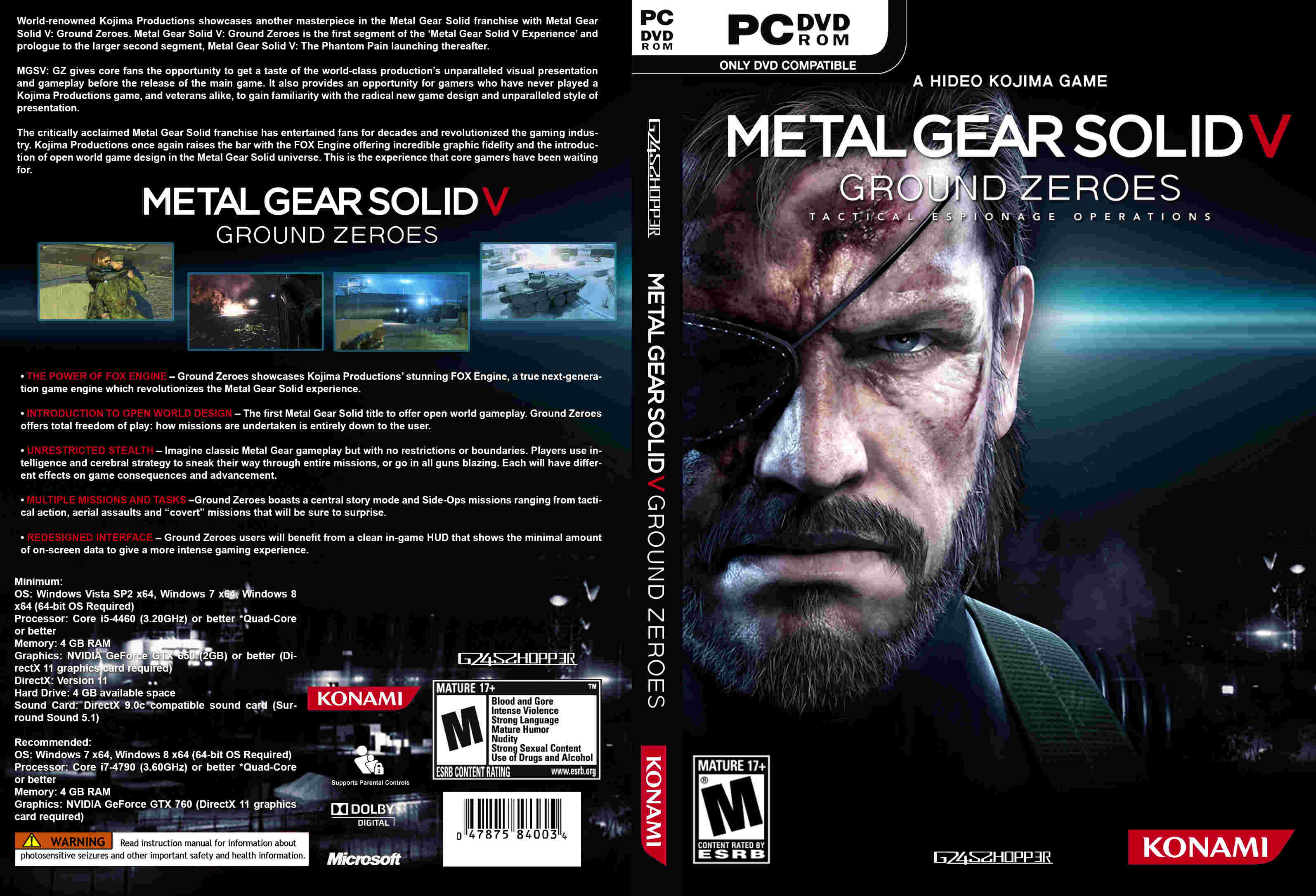 Metal Gear Solid V Ground Zeroes Front FreeCovers System Requirements